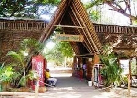 The entrance to Haller Wildlife Park in Mombasa Kenya