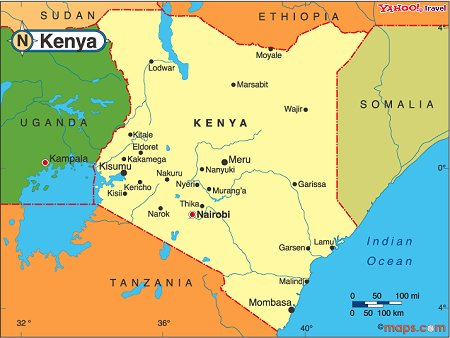the map of kenya and its neighbour country