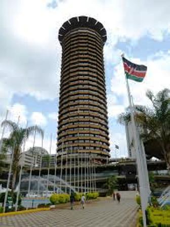 Kenyatta International Conference Centre with the kenyan flag