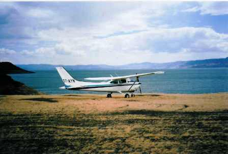 the eloplane to after parking at turkana lake