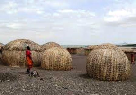 Houses of the Turkana People in Turkanaland Kenya