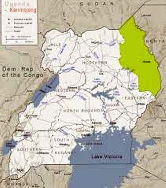 The location of the sebei in Uganda