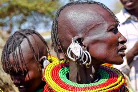 the turkana people with their traditional head attire