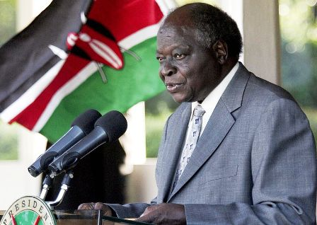 the former president of kenya mwani kibaki addressing kenya business investors